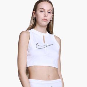 Nike W Crop White Zipper Front Crop Tank Top - S